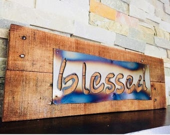BLESSED Rustic Wall Sign...Reclaimed Pallet...Metal Sign...Rustic Home Decor...Handmade...Farmhouse