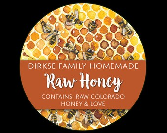 Honey Labels - Honeycomb - Bees on Honey Frame - Watercolor Style - Raw Honey - Homegrown Honey - All Text Can be Customized