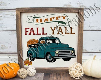 Happy Fall Y'all Truck pumpkins   SVG, PNG, JPEG