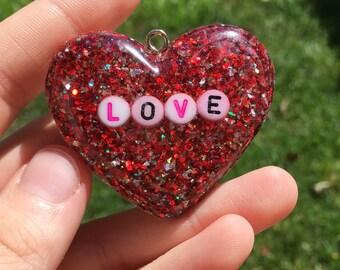 SALE* Defective Love Resin Beaded Word Heart