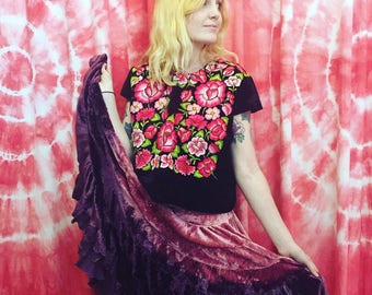 Vintage Mexican Embroidered Velvet Top