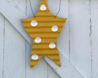 Yellow and White Polka Dot Barn Tin Star