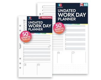 PRINTED 50 sheets Undated work day planner A5 / Personal Filofax A5 Kikki.K Large Compatible Refill Coloured