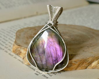 Silver Statement Purple Labradorite Pendant -  Sterling Silver 925 Reversible - Wire Wrapped - Rare Purple Fire -Hypoallergenic -The Ivy Bee