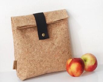 Lunch bag, Vegan bag, Clutch, Cork bag, boho Cork clutch, Gift For Women, Women Purse, Lunch box, Cork lunch bag,