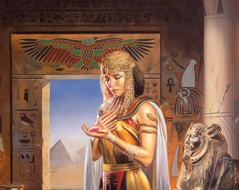 Cleopatra The Egyptian Princess - Egyptian Art - Handmade Oil Painting On Canvas