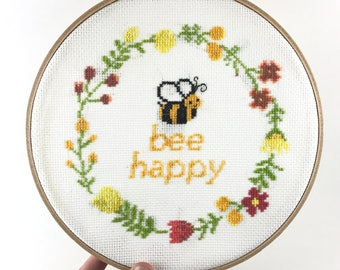 Modern Cross Stitch Kit, Funny Cross Stitch Kit, Beginner Cross Stitch Kit, Bee Cross Stitch Pattern, Quote, Clever, Pun, Bee Happy