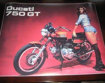 Ducati 750 GT Vintage Motorcycle Ad Poster Print 24x31in