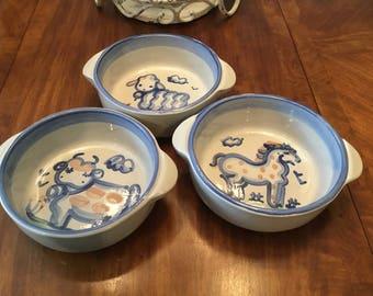 M.A. Hadley American Pottery Three Bowls