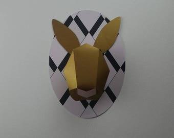 Kit deer trophy gold art deco paper