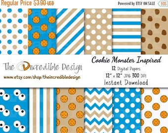 50% OFF SALE Cookie Monster Inspired digital paper pack for scrapbooking, Making Cards, Tags and Invitations, Instant Download