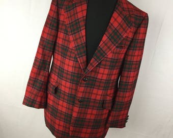 Vintage 60s Hughes & Hatcher Wool Sport Coat Blazer Jacket 44R 44 Red Red Green Plaid Holiday Christmas Men's