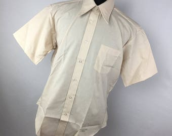 Vintage Sears Dress Shirt The Men's Store Tan Button Down Front 16.5 16 1/2 Light Tan Short Sleeve 70s Wide Collar C3
