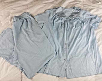 Vanity Fair Womens Pajama Set Top Bottom Nylon Antron III Short Sleeve Vtg sz 36