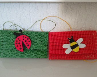 Wallet Pocket child - good points - green-red from rubber drawer - Ladybug-Butterfly
