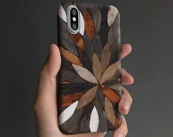 Nature iPhone X case, iPhone 8 case, iPhone 6s case iPhone 7 case, iPhone 6 plus case, tough case, white brown T652
