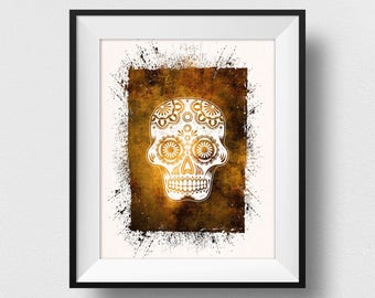 Sugar Skull Print, Calavera Wall Art, Day of the Dead Art, Mexican Wall Decor, Día de los Muertos Decorations, Watercolor Skull Art (N530)