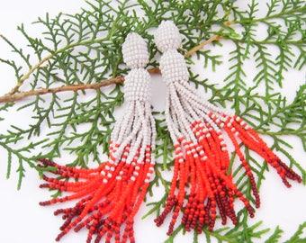 Beaded tassel earrings Gray red brown bead earrings Long beaded tassel earrings Oscar Fashion earrings Ombre beaded tassel