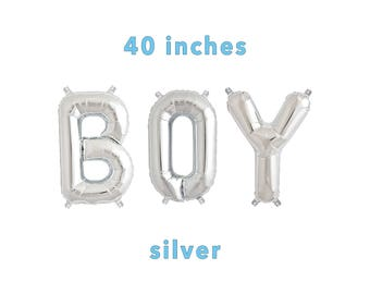 "BOY Letter Balloons | 40"" Silver Letter Balloons 