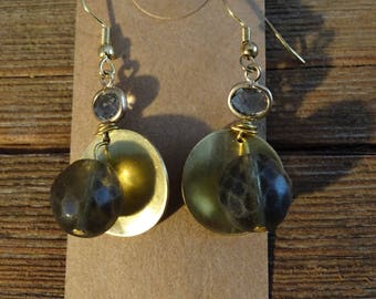 Gold and Grey Agate Earrings