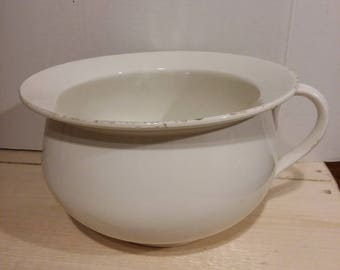 Vintage Porcelain Chamber Pot Bathroom Potty Planter Farmhouse Decor