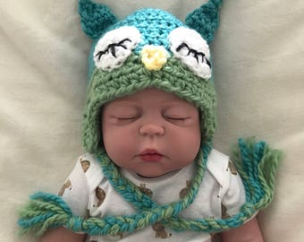 Owl hat, 0-3 month owl hat, Owl hat photo prop,  Crocheted owl hat, Newborn photo prop
