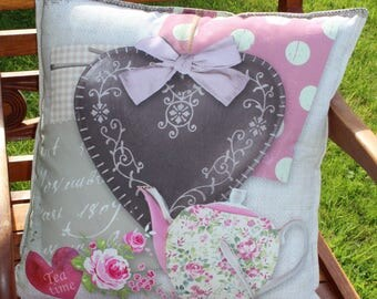TEA TIME heart pink and grey pillow cover N 1