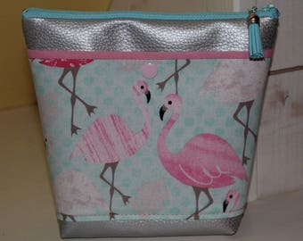 Turquoise and pink FLAMINGOS leatherette silver pouch