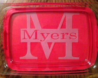 Personalized Baking Dish ~ Etched ~ 9x13 ~ Red Lid