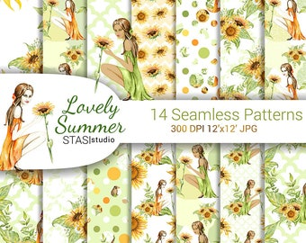 Watercolor Summer Seamless Patterns African American Planner Girl Fashion Illustration Orange Green Planner Floral Paper Pack Sunflower