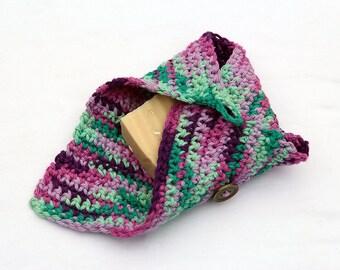 Lavender Oatmeal Soap Gift Set - Frankincense and Myrrh Soap Set - Crochet Essential Oil Soap Holder - Soap and Rag Gift Set - Handmade Soap