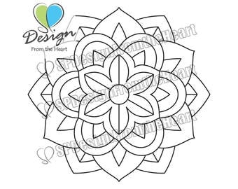 Simple Mandala Coloring Page #1, Printable Adult Coloring Page, Digital Download, Relaxation, Meditation, Peace