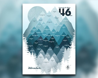 Conquering the Winter 46 - ADK 46ers Print - Adirondacks, NY - Mountain Graphic - Snowy High Peaks - Hiking Decor Poster - New York Wall Art