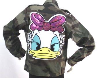 Jacket khaki military fatigues Daisy pattern