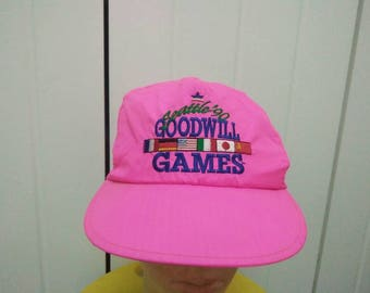 Rare Vintage SEATTLE 90' GOODWILL GAMES with Six Small Nations Flag Neon Pink Embroidered Spell Out Cap Hat Free size Fit All