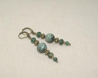 Antique bronze Stud, Seraphinite, MOSS Agate earrings