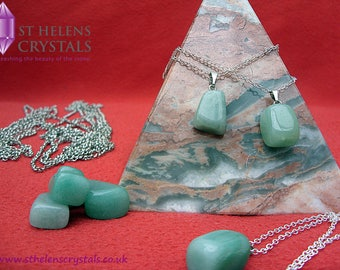Aventurine healing reiki crystal pendant necklace by St Helens Crystals