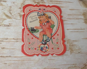 1920's Valentine Card | Scalloped Edge | Double Sided Paper Card | Please Be My Valentine | MADE IN USA