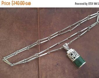 ON SALE Vintage Sterling Silver Necklace with Peruvian 950 Silver and Stone Pendant