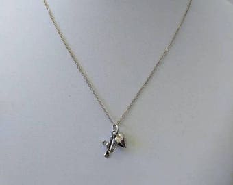 ON SALE Vintage Sterling Silver Necklace with Silver 'Heart, Cross and Anchor' Pendant