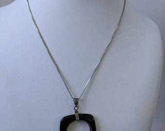 ON SALE Vintage Sterling Silver Necklace with Silver and Onyx Pendant