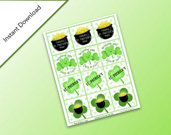 Printable Happy St. Patrick's Day Gift Tags, Instant Download, Lucky Clover, Shamrock, & Pot of Gold Gift Tags, St. Patrick's Day Labels