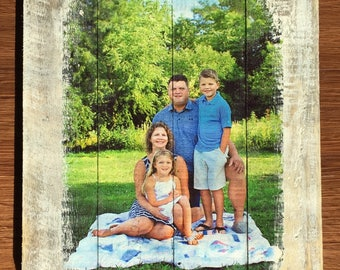 Rustic, distressed photo wall hanging