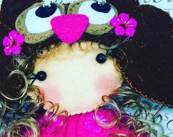 Owl Felt Rag doll ragdoll  doll  Ooak cloth doll handmade by Cobesco's Creations