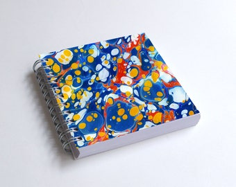 "Notebook 4x4"" decorated with motifs of marbled papers - 42"