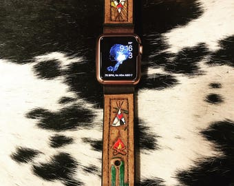 Vintage Swag Vintage Leather Hand tooled and Painted Apple Wristband