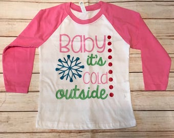 Baby it's cold outside raglan Christmas winter