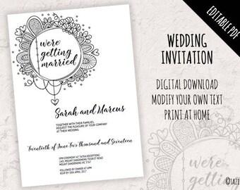 Wedding Invitation | EDITABLE PDF | Instant Digital Download | Modern Full Colour Original Doodle Design