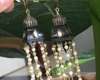 Pearl and Diamond Chandelier,Pearl And Diamond Earring,jhumkas Earring,Pearl Victorian Earrings,Diamond Polki Earrings,Pave Diamond Earrings