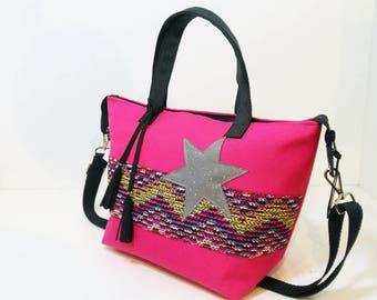 Handbag city canvas cordura, black and pink handles, adjustable shoulder strap, unique, made in Clara France.modele